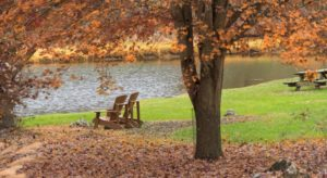 Wooden adirondack chairs sitting underneath fall foliage next to a pond