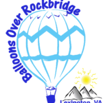 "Logo for ""Balloons Over Rockbridge"" with drawing of a hot air balloon floating over mountains."