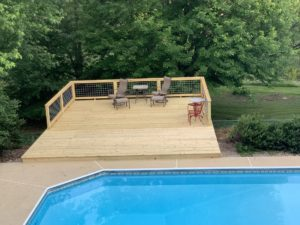The new wooden deck by the pool at Steeles Tavern Manor B&b