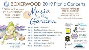 "Poster listing all the 2019 dates for ""Music in the Garden"" at Boxerwood Gardens."