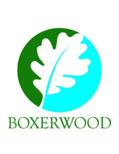 Logo for Boxerwood Nature Center in Lexington VA (a drawing of a white oak leaf with green and blue background)