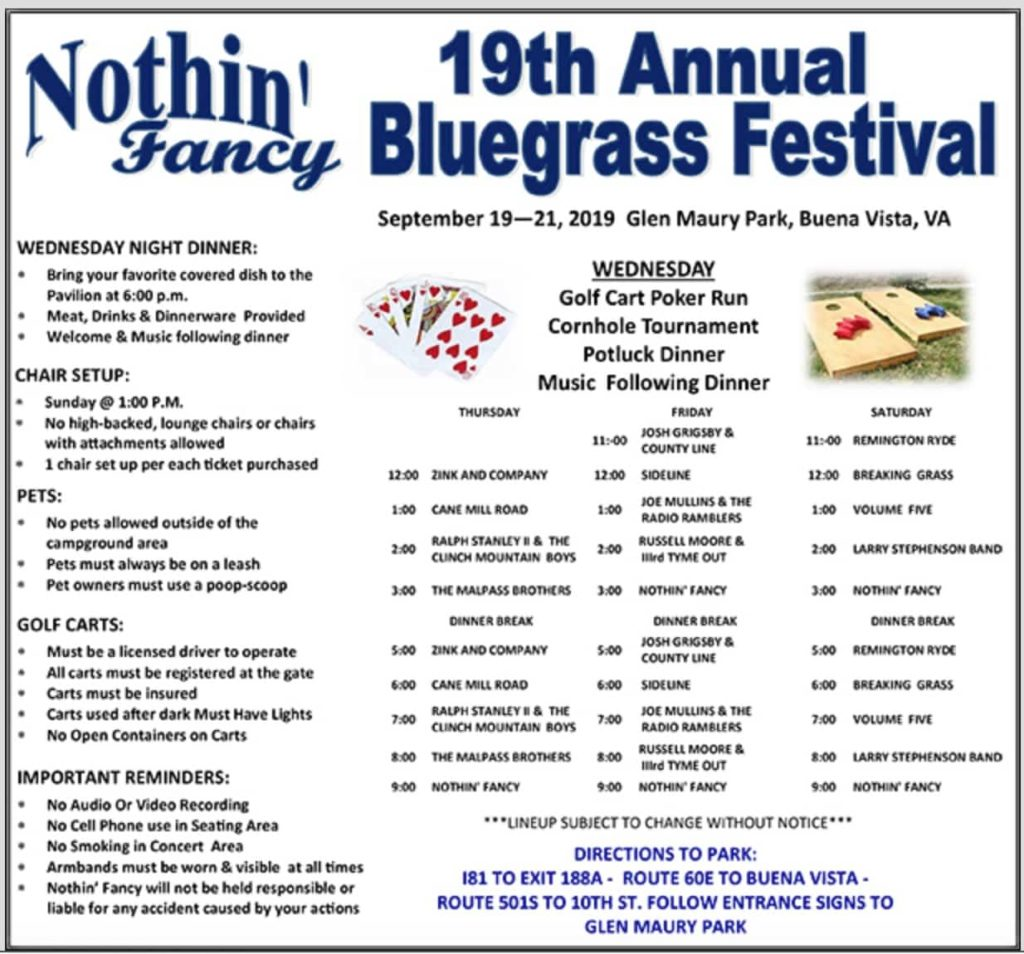 Schedule for the Nothin' Fancy Bluegrass Festival in Buena Vista, VA