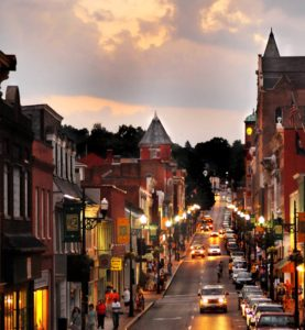 View of the main street for shopping in Staunton VA