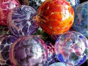 multicolored glass balls from Sunspots Gallery in Staunton